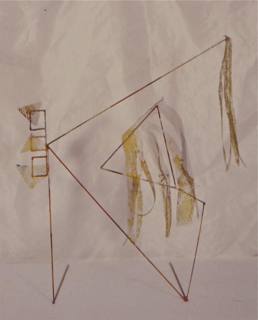 Scultura di Adriana Amodei - Studio per scenografia Dimensione spazio, omaggio a Fausto Melotti, 1984 40x40